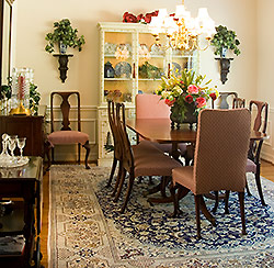 oriental rug in a dining room